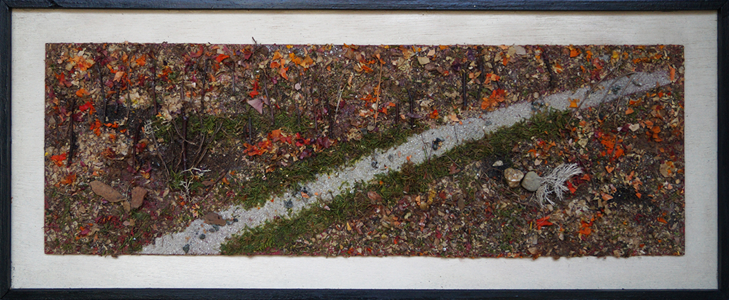 Tableau de pétales en copeaux de végétaux stabilisés collés pour former ce paysage d'automne