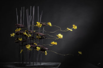 Sculpture avec support en pierre, fleurons oncidium, coques sèches, fil de métal doré et bâtons fins